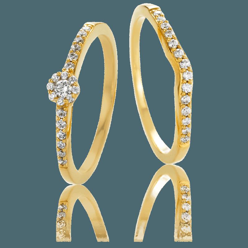 Duo anillo de compromiso y alianza de oro y diamantes