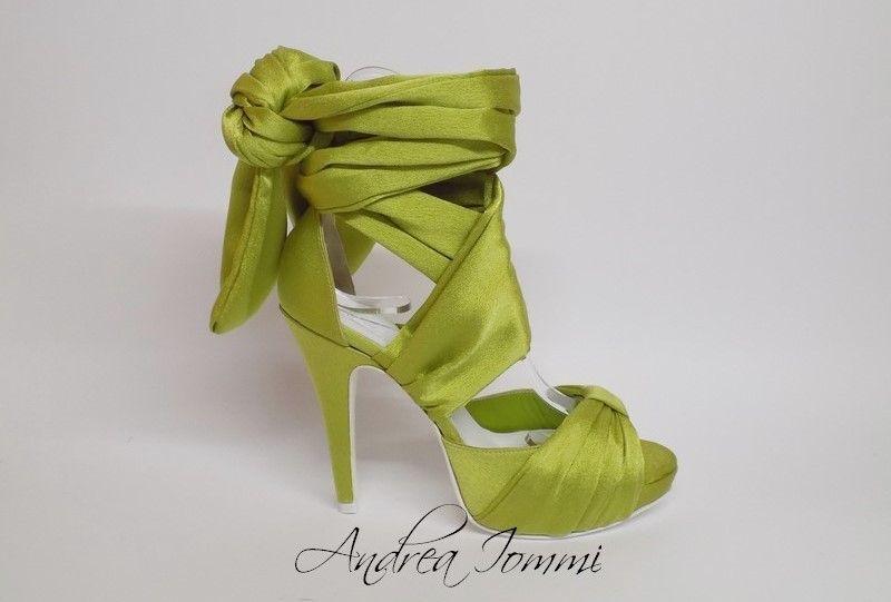 sandali da sposa colorati greenery