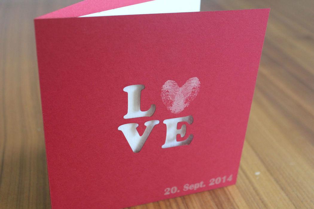 Beispiel: Hochzeitskarte, Foto: Hochzeitlädchen.