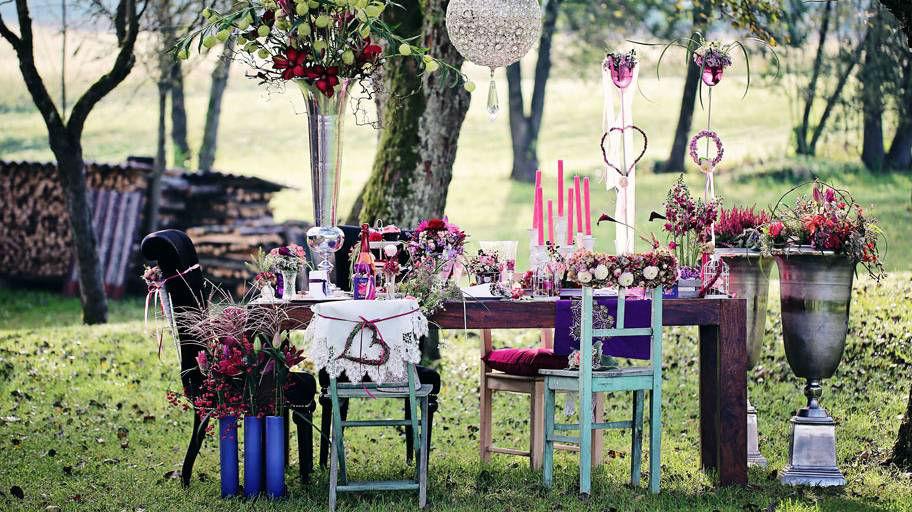 Beispiel: Blumendekoration für das Bankett, Foto: Blumen Isabella.