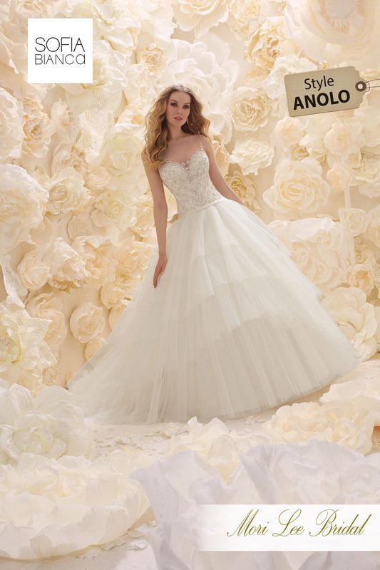 Style ANOLO A CRYSTAL BEADED BODICE WITH CLASSIC ILLUSION BACK MEETS A TIERED TULLE BALL GOWN WITH PLAIN WAISTBAND   COLOURS WHITE, IVORY OR IVORY / LIGHT GOLD