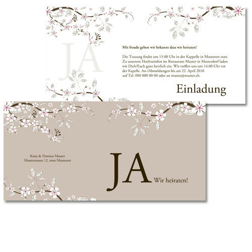 Beispiel: Hochzeitskarte, Foto: Design & Print.
