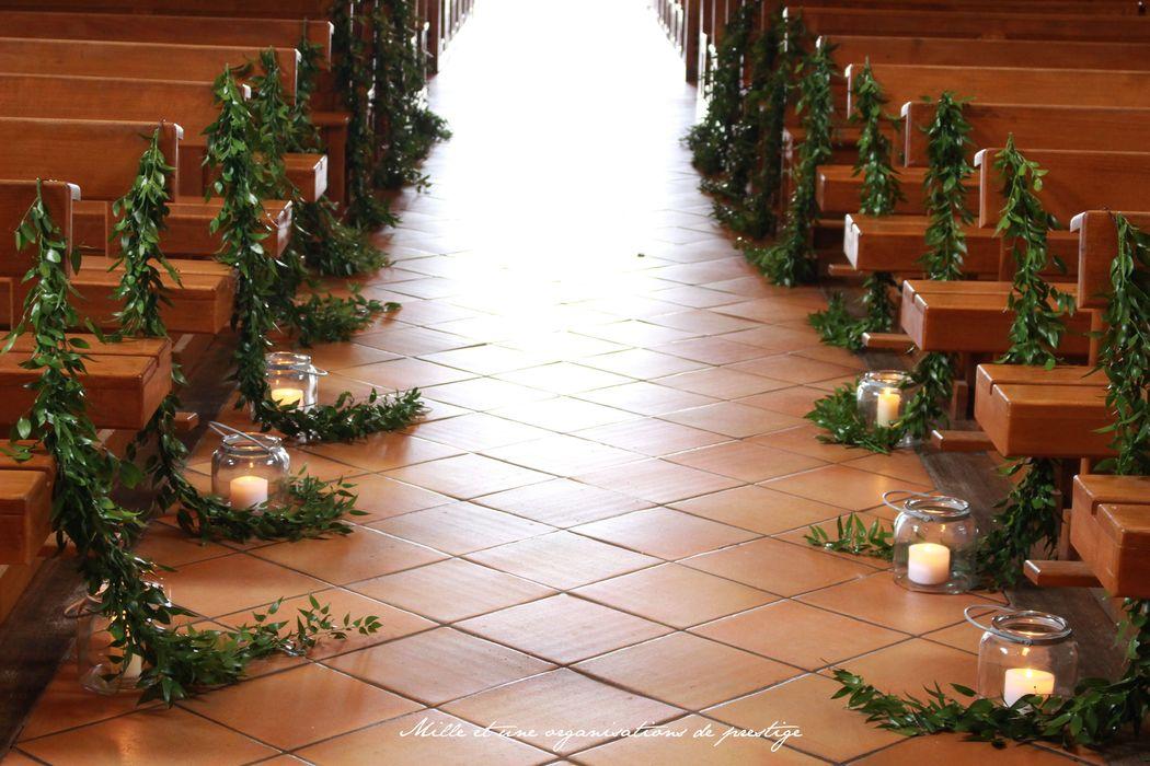 Décoration église mariage végétal et nature