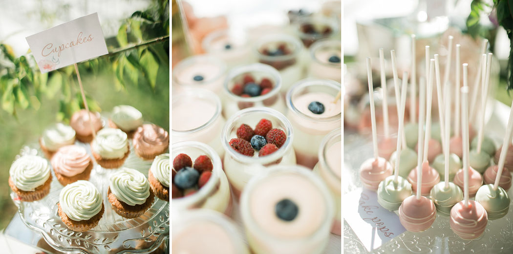 Десерты для сладкого стола. Воздушные ягодно-сливочные муссы в баночках, кейкпопсы, капкейки