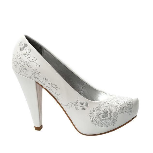 Sapatos Namorar Portugal Flor de Liz - Branco e Prata (Personalizado)