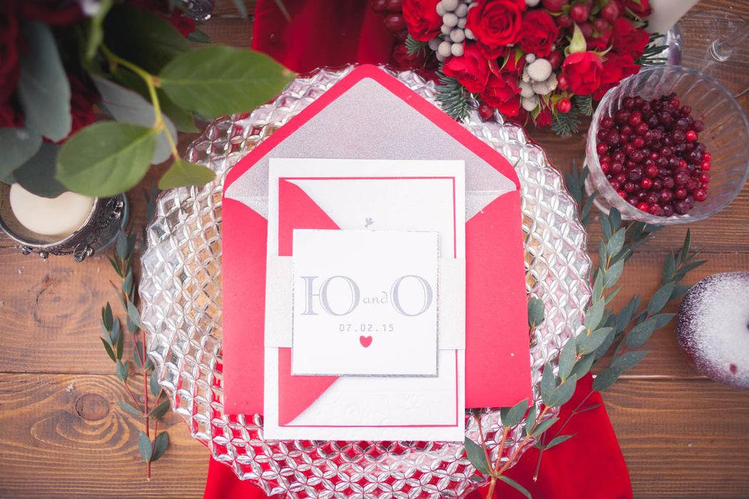 зимняя свадьба, сервировка стола, красный