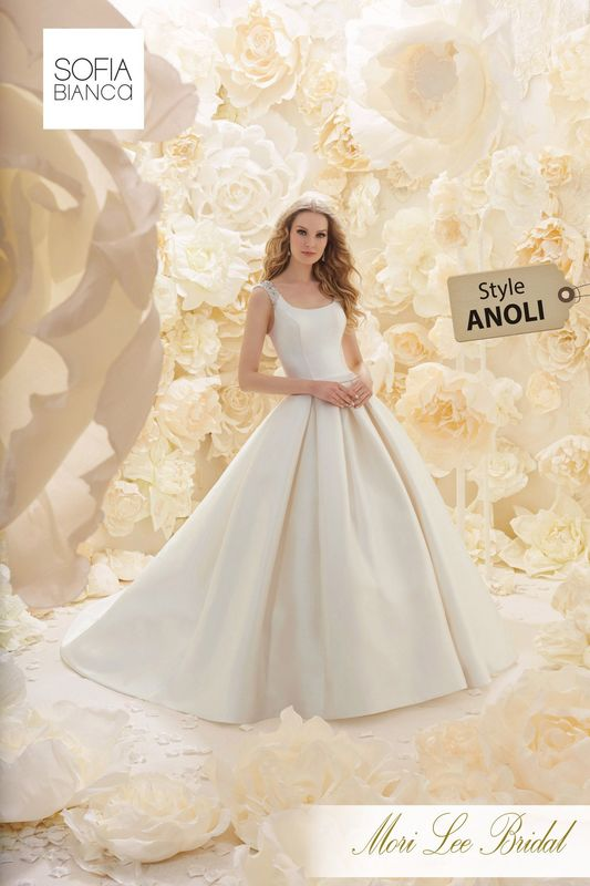 Style ANOLI A BEAUTIFUL CLASSICAL LARISSA SATIN BALL GOWN DRESS WITH A SCOOP NECK AND LOW BACK WITH CRYSTAL SHOULDER DETAIL      COLOURS WHITE / SILVER, IVORY / SILVER