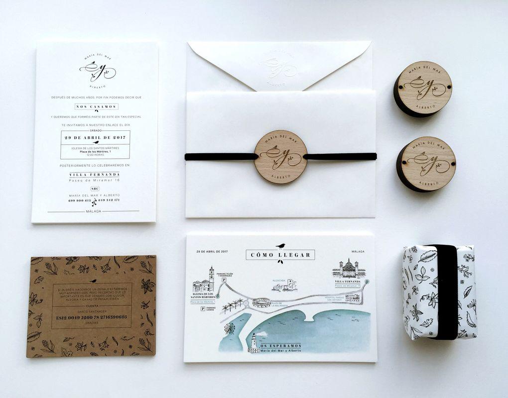 Papelería para la boda de Mar y Alberto. Con un toque rústico en madera y detalles de acuarela. Diseño sobrio y actual.