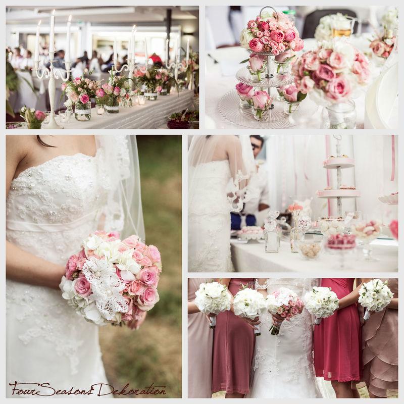 Der Vintage-Stil... hier wunderschön in Rosé-Tönen und Garten-Look umgesetzt.