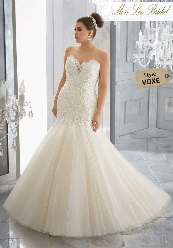 Style VOXE Mischa Wedding Dress  Diamanté Beaded Alençon Lace Appliqués Accent the Form Fitting Bodice on This Tulle Mermaid Wedding Gown. A Sweetheart Neckline and Covered Buttons Along the Back Complete the Look. Colors Available: White|Ivory|Champagne.