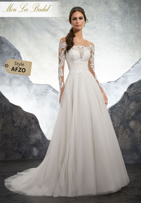 Style AFZO Kelsey Wedding Dress  Striking Sculptured Embroidery Trims the Illusion Neckline and Long Sheer Sleeves on This English Net Soft Ball Gown. A Zipper Back Closure Trimmed in Covered Buttons Completes the Look. Colors Available: White, Ivory, Ivory/Rosé