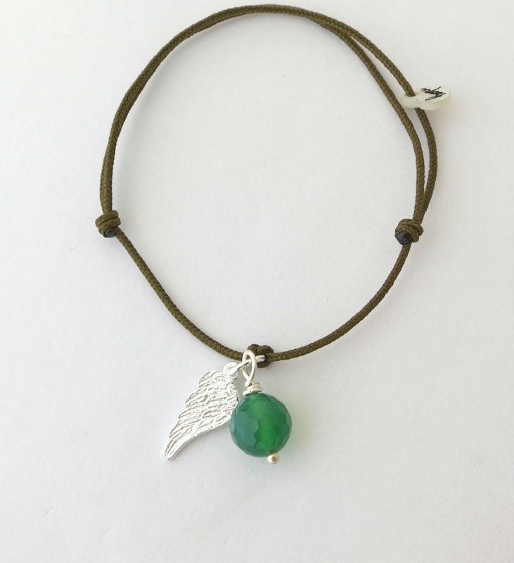 Pulsera ala de angel plata con agata verde y cordón 1mm kaki