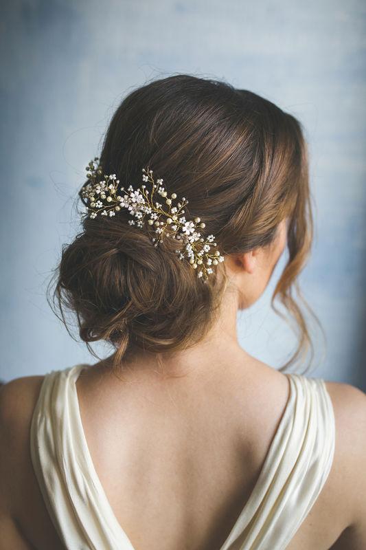 Ornamento sposa con perle e fiorellini - pettinino floreale | Elibre Handmade