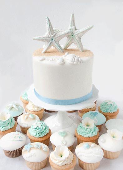 Beach dream - Cupcakes Hochzeitstorte mit Top Cake