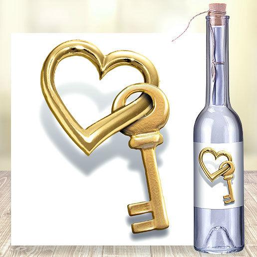 Beispiel: Flaschenpost mit Schlüssel zum Herzen, Foto: Valentins.de Blumen & Geschenke.
