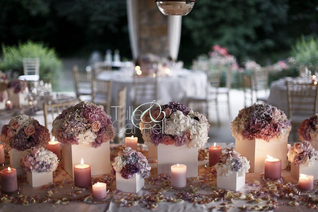 Matrimonio Glamour - tripudio di ortensie e candele