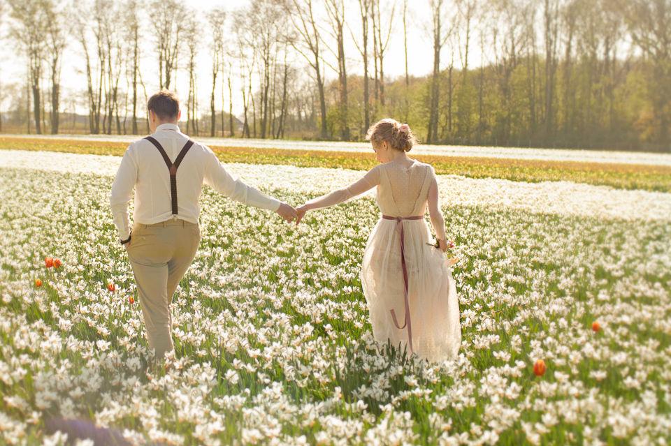 Trouwfotografie in de tulip velden, Lisse