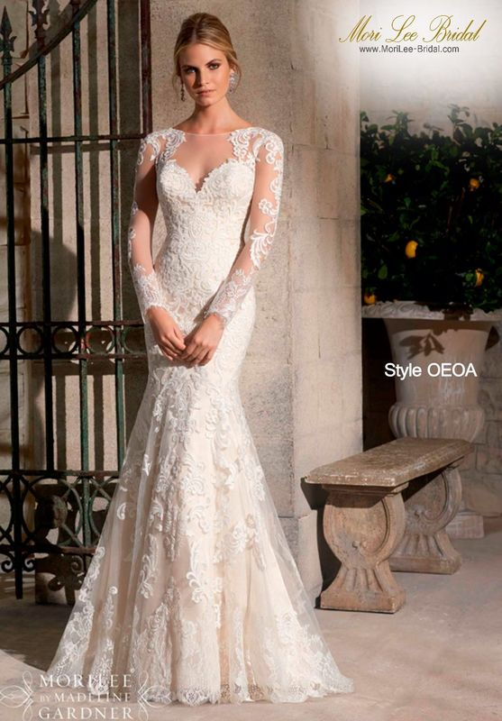 Dress Style OEOA Majestic Embroidered Appliques Combined With Chantilly Lace On Net With Wide Hemline- Available In Three Lenghts: 55 Inches, 58 Inches, 61 Inches Available in White, Ivory, Gold