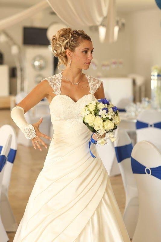 L'atelier de Sellyn bouquet de mariée blanc et bleu roy