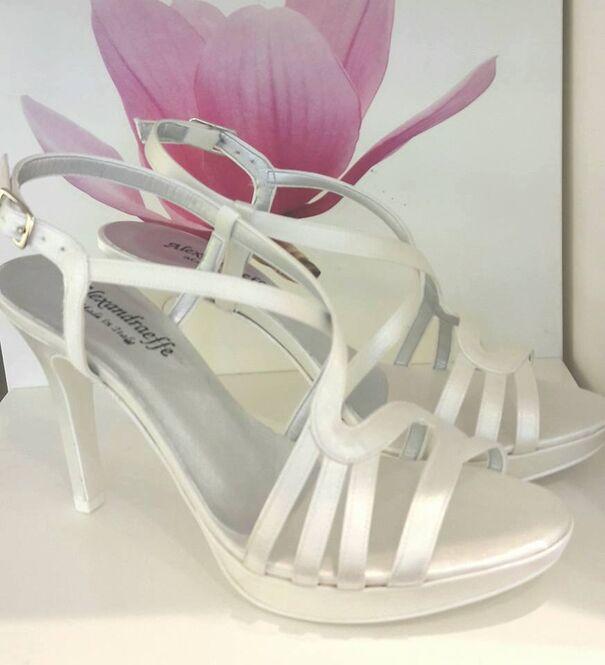 Alexandra Effe sandalo bianco seta tacco 90