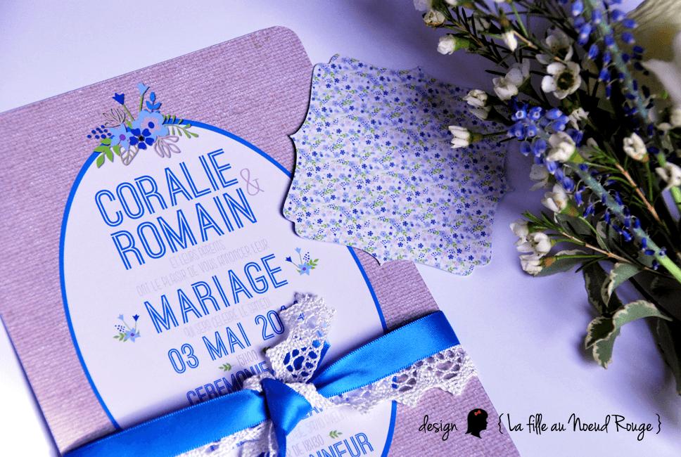 Faire-part et papeterie décorative mariage champêtre romantique dans des coloris bleu, vert et ivoire un brin retro/vintage