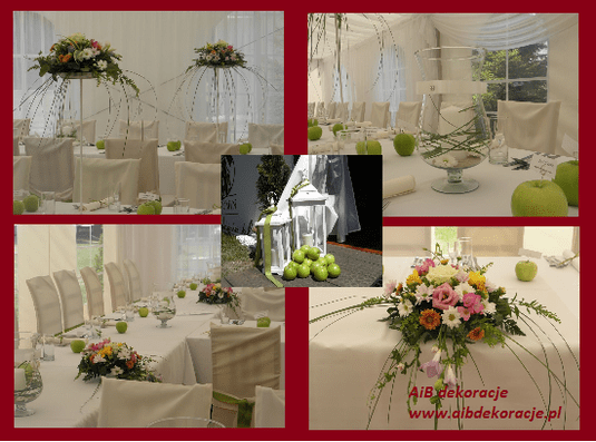 Dekoracja ślubnych stołów w namiocie. Dekoracje z kwiatów mieszanych,róze ,frezje, margaretki i zielone jabłuszka.