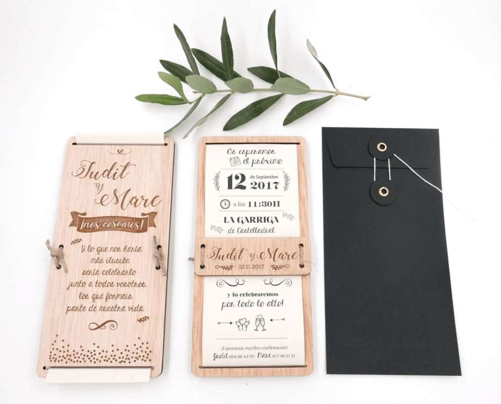 Invitación convinada de papel y madera, novedad 2017!