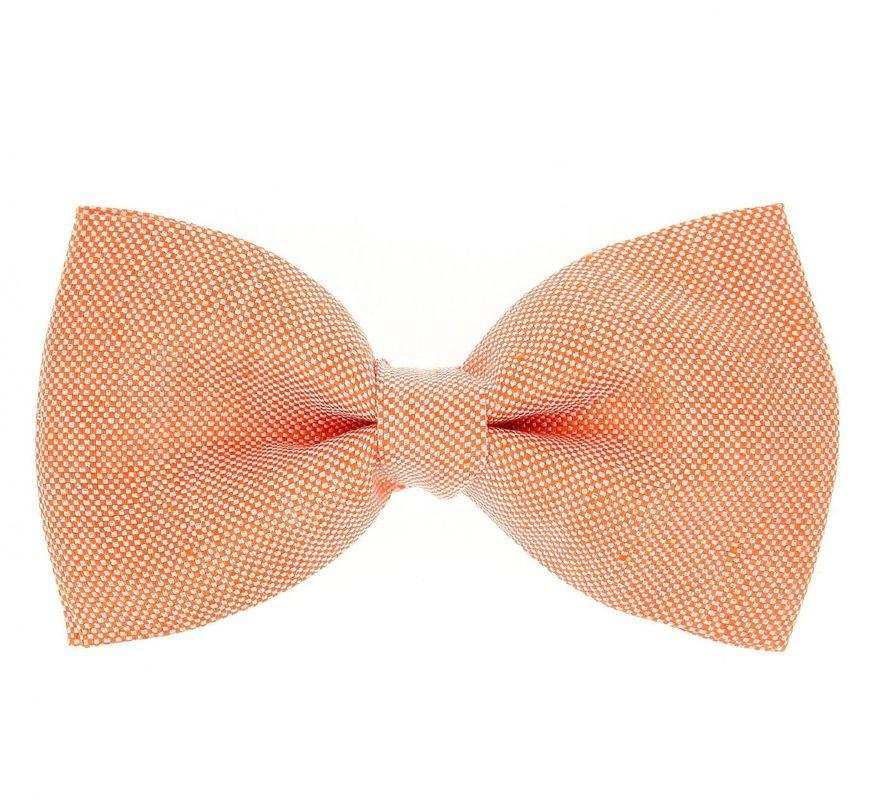 Noeud papillon orange pastel en soie et lin - Maison de la Cravate