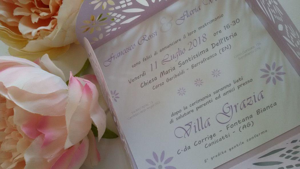 Partecipazione Matrimonio con intaglio