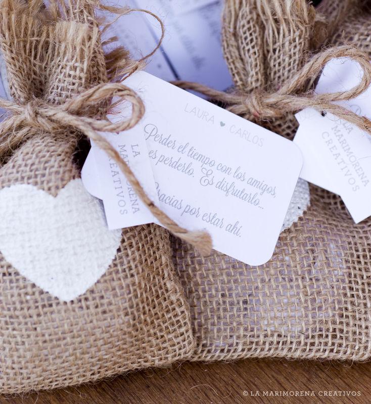 Tarjeta con mensaje para invitados y Saquitos de Arroz/Lavanda