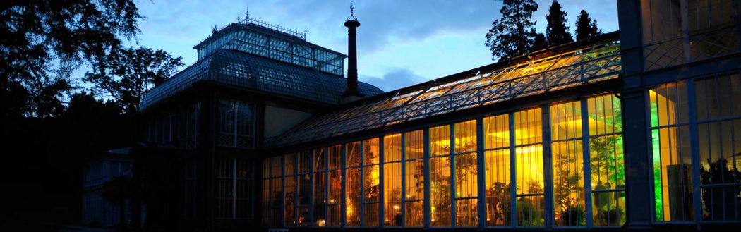Beispiel: Gewächshaus - Außenansicht beleuchtet, Foto: Kaskaden Wirtschaft Grischäfer.