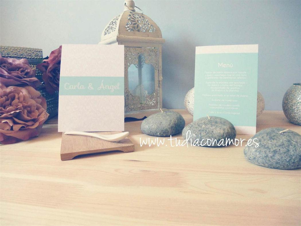 Invitación en gris y azul Tiffany