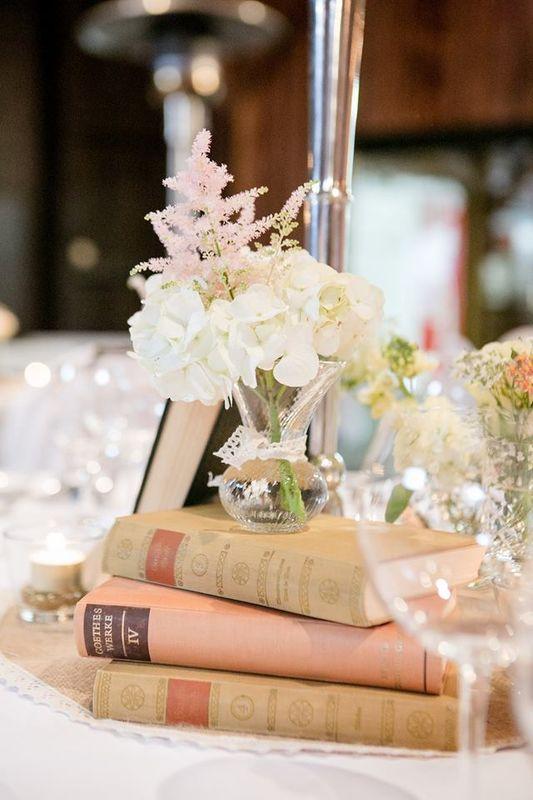 Beispiel Tischdekoration: Vintage Book Wedding