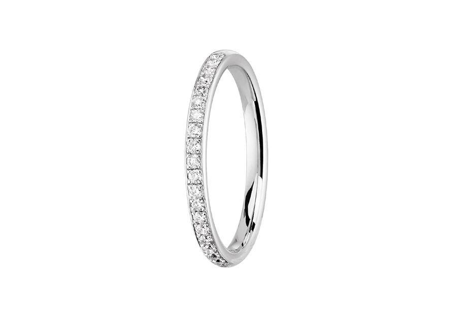 Alliance Jonc Parisien Diamant 2 mm - Or blanc palladié & Diamants éthiques du Botswana