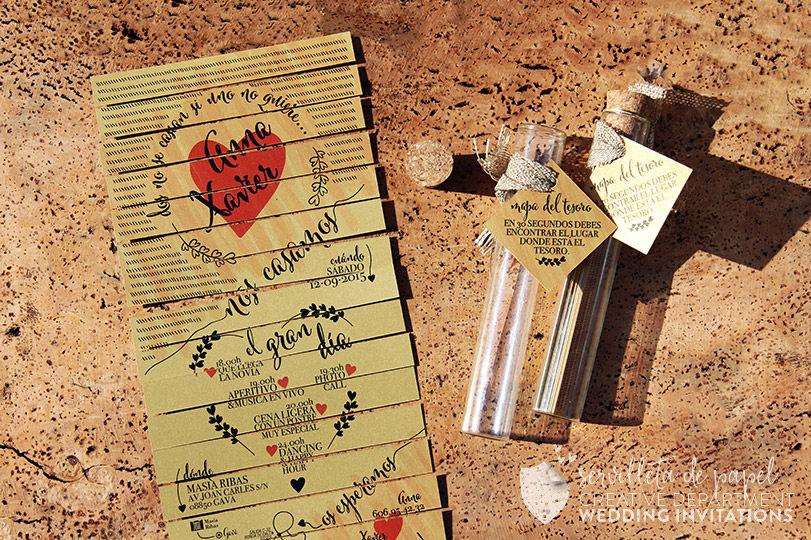 Invitación de boda Anna + Xavi | www.servilletadepapel.es