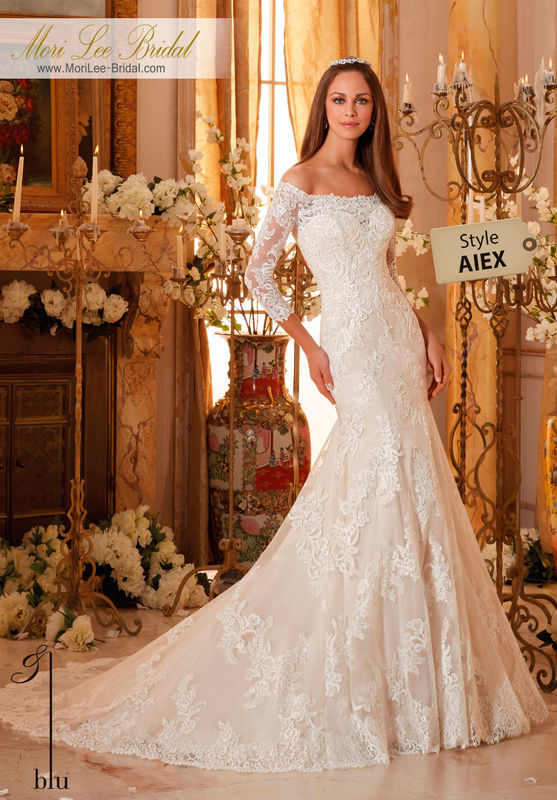 Dress Style AIEX  CHANTILLY AND EMBROIDERED LACE APPLIQUES ON SOFT TULLE WITH SCALLOPED HEMLINE  Available in Three Lengths: 55