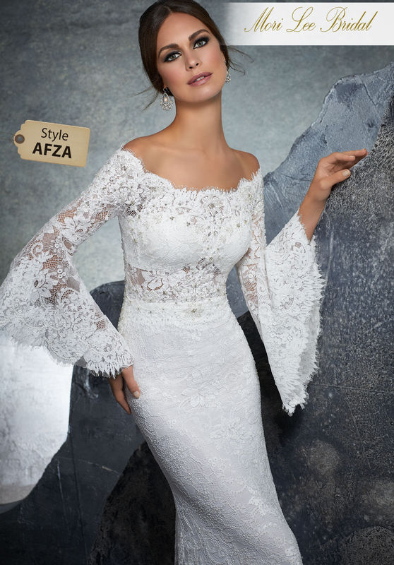 Style AFZA Kiersten Wedding Dress  Boho Chic Bridal Gown Featuring Diamanté and Pearl Beading on Stretch Lace. Poetic Sleeves and an Off-the-Shoulder Neckline Complete the Look. Matching Satin Bodice Lining Included. Colors Available: White, Ivory, Ivory/Nude
