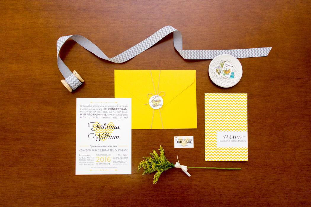 Convite Chevron Amarelo - Fabi e William