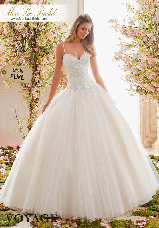 Dress Style FLVL  ALENCON LACE APPLIQUES OVER CHANTILLY LACE ON TULLE BALL GOWN  Colors Available: White, Ivory, Ivory/Champagne
