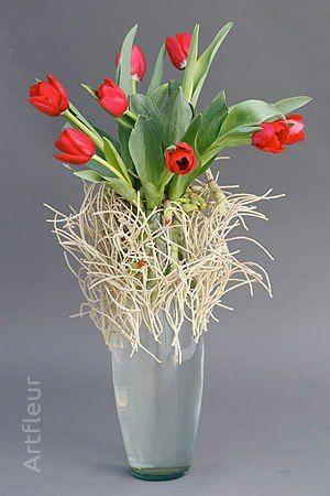 Centro de mesa con tulipanes rojos - Foto Art fleur