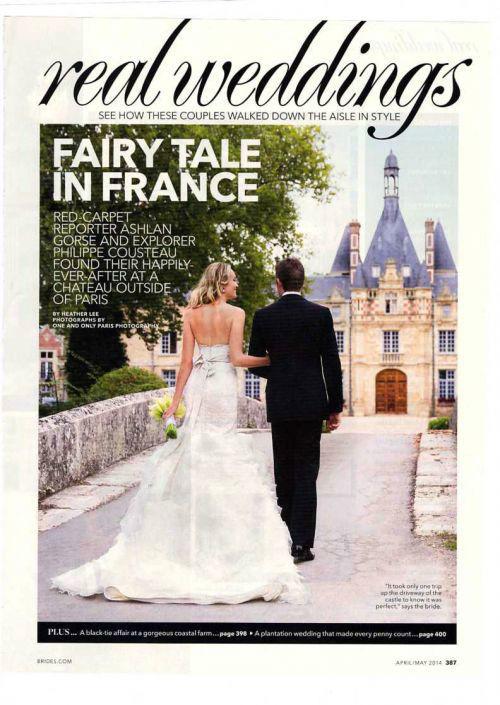 Parution dans Brides Magazine avril 2014 Ashlan & Philippe Cousteau