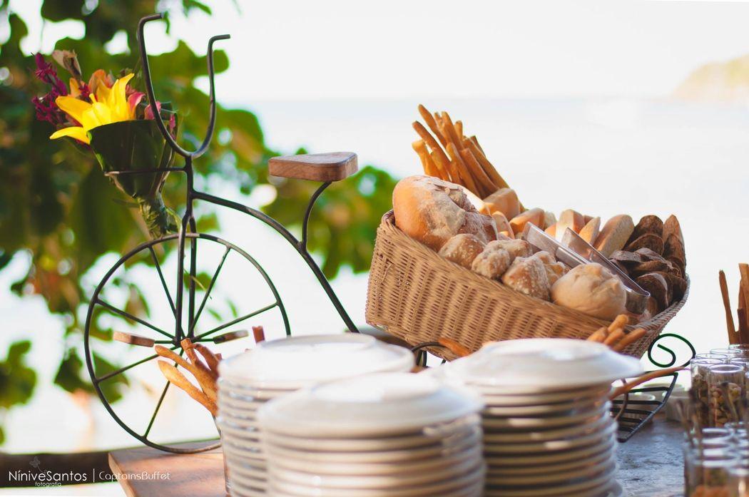Pães artesanais- Mesa de antepastos