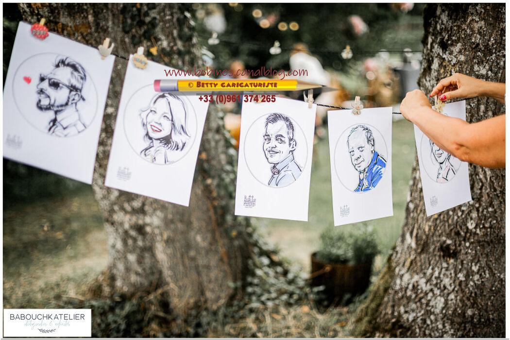 Caricatures des invités Mariage Bohème Chic, Betty, la caricatur