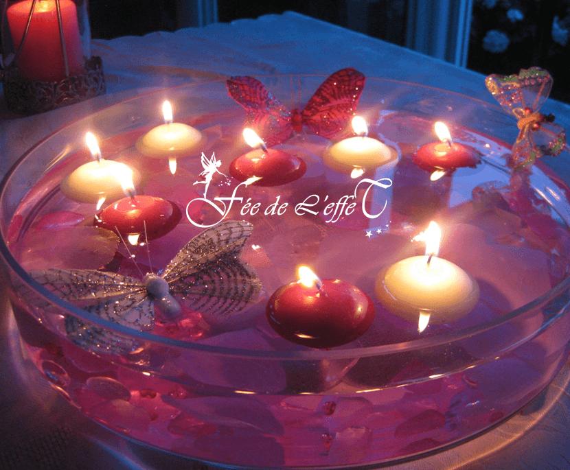 Fée de l'effet - Location Centre de table vasque bougies flottantes