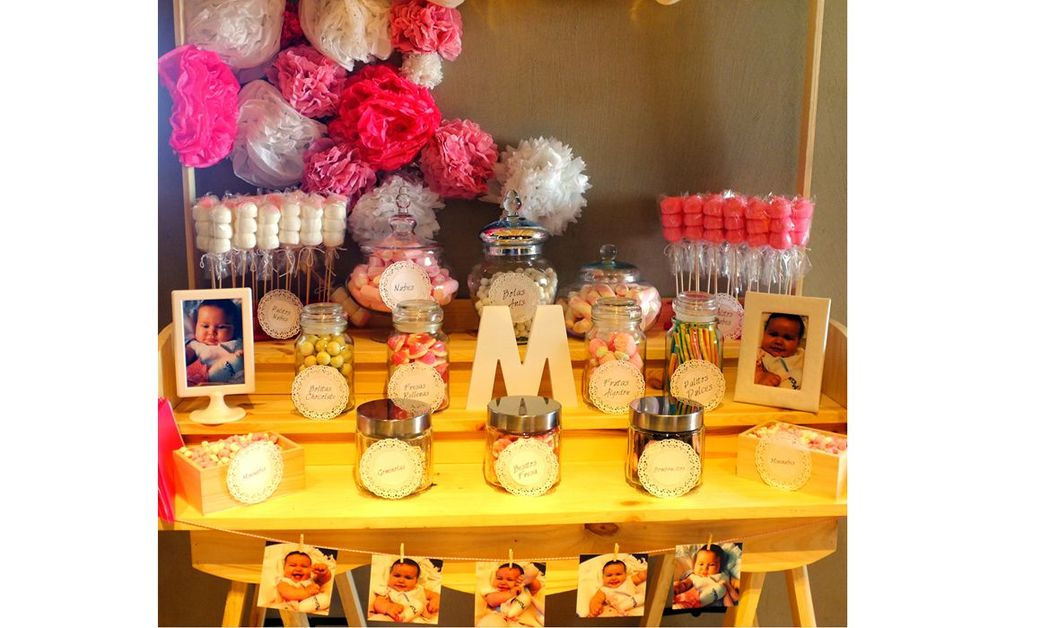 Candy bar tonos rosas y blanco