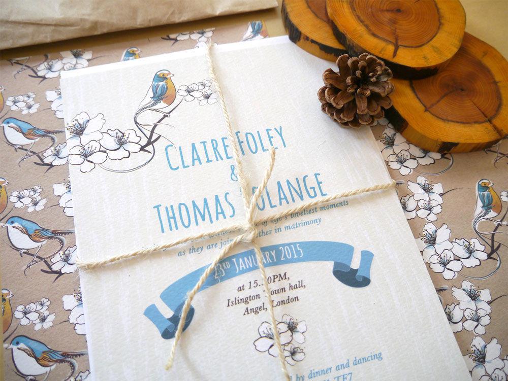Faire-part de mariage Rustic chic Pepper & Joy. Collections illustrées d'oiseaux et fleurs qui seront personnalisés aux couleurs de votre mariage.