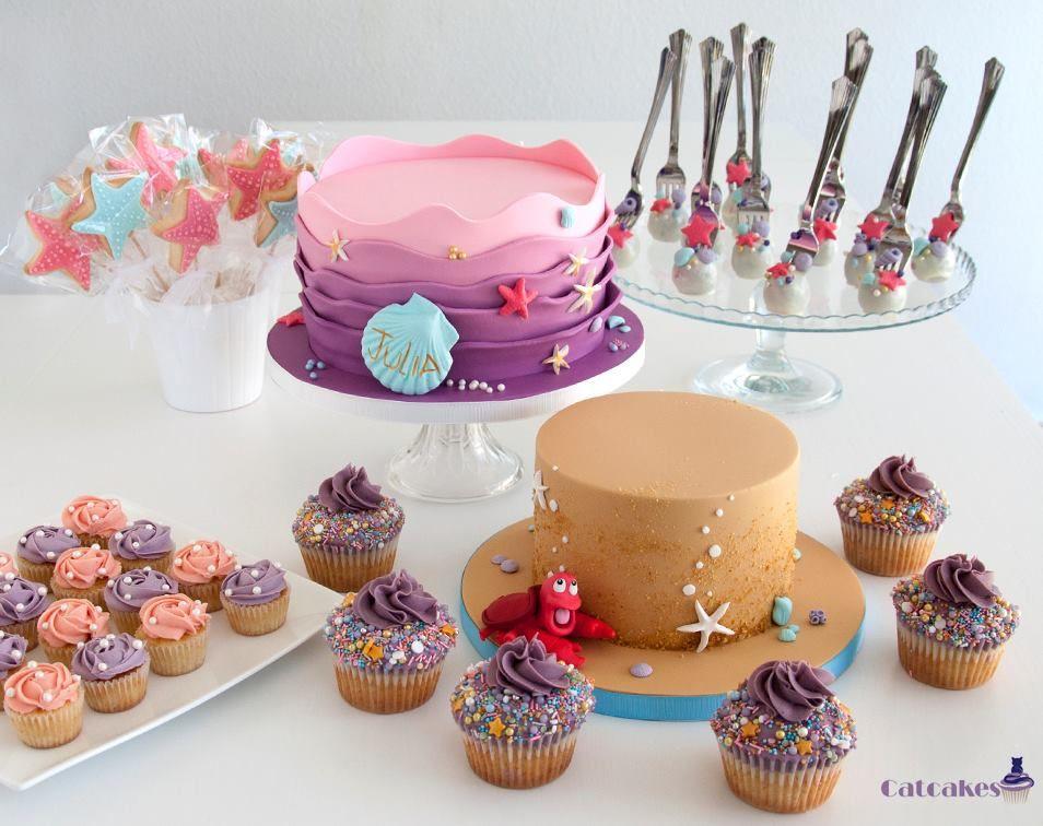 Mesa dulce con temática de la Sirenita