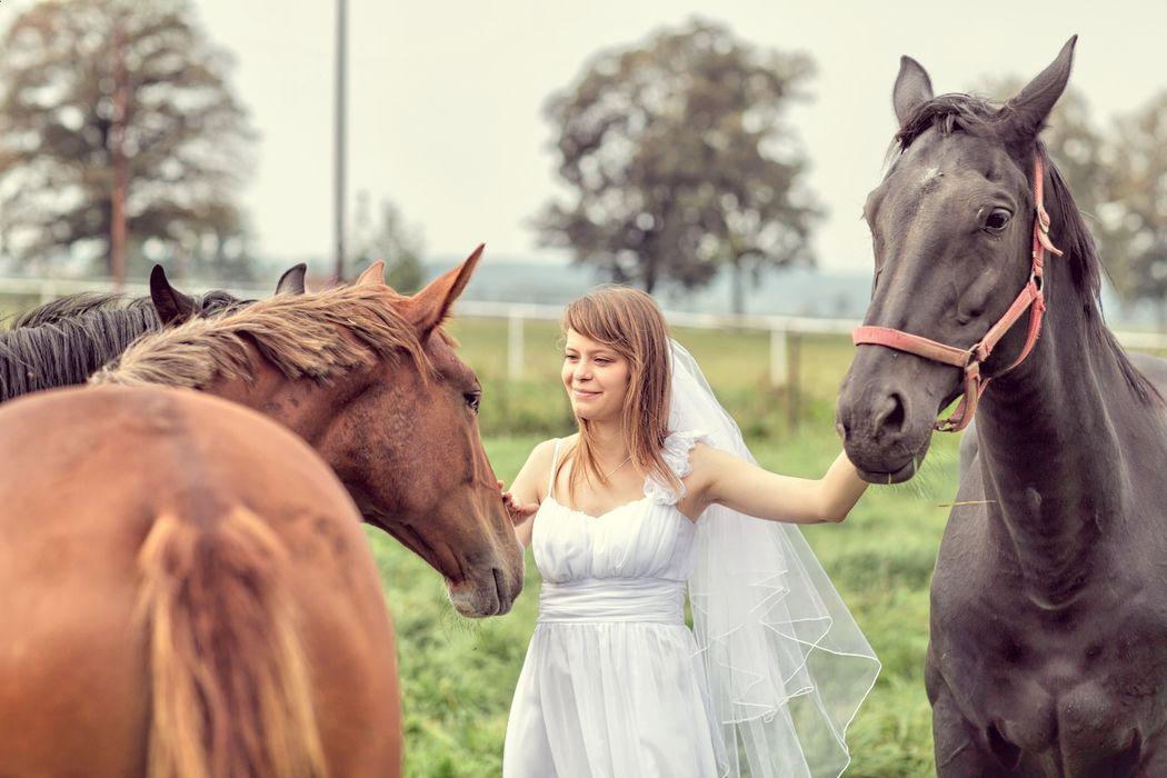 Fotografia z pleneru ślubnego Justy i Marka w stadninie koni