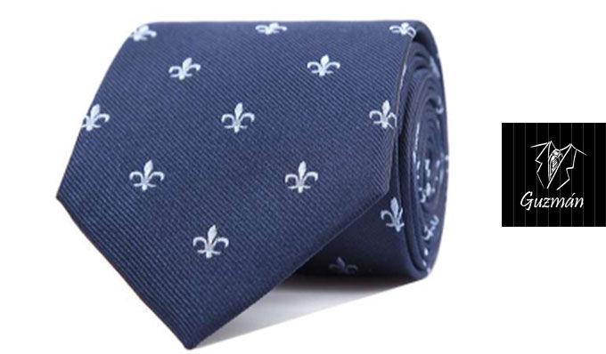 Corbata azul marino con flor de lis