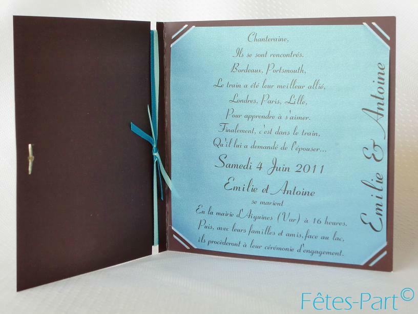 Fêtes-Part - Faire-part carré turquoise et chocolat